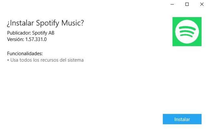 Spotify Windows 10 instalacion