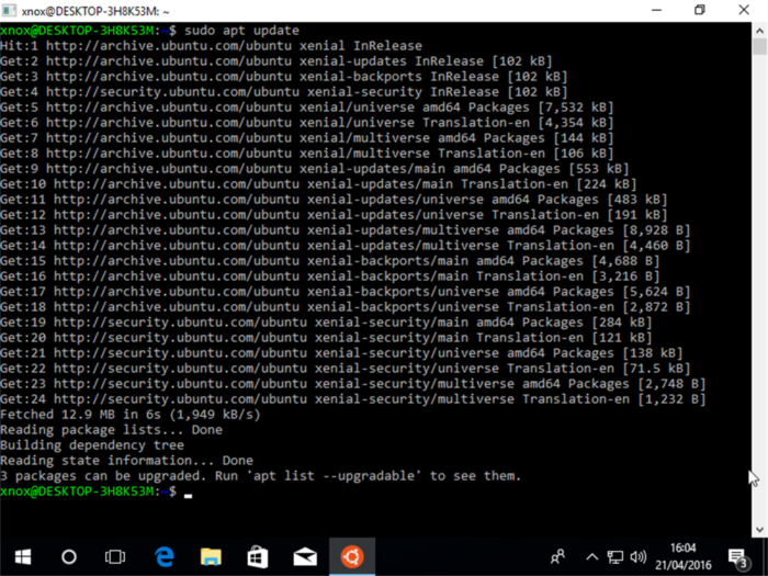 Consola Ubuntu Windows