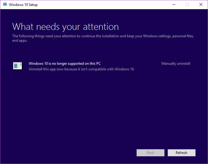 Mensaje Windows 10 PC no soportado