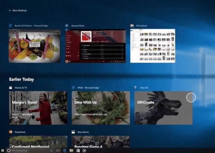 Timeline Windows 10 Fall Creators Update