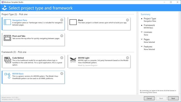 Windows Template Studio ahora incorpora mejoras en el asistente