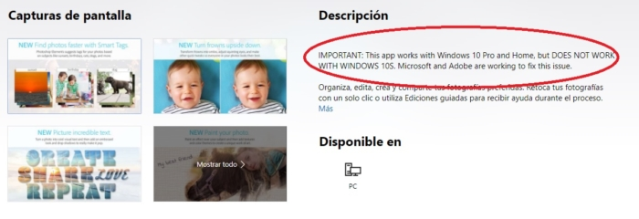 Aviso Adobe Windows 10 S