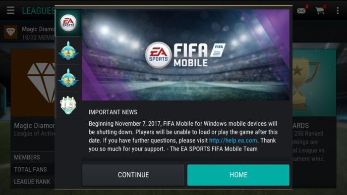 Fin Soporte FIFA Mobile