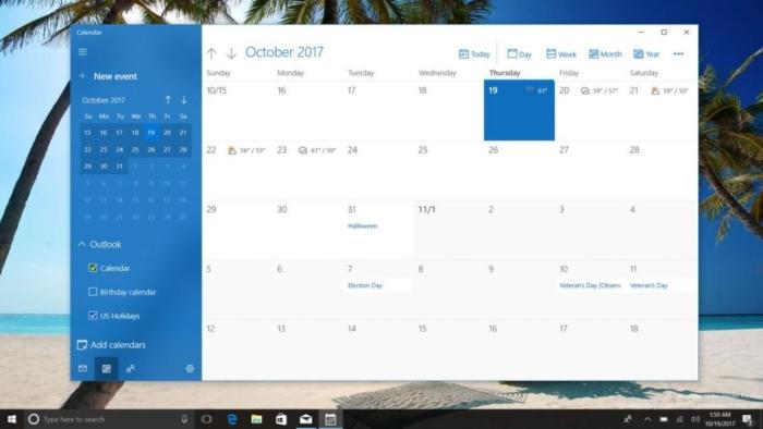 Calendario Fluent Design