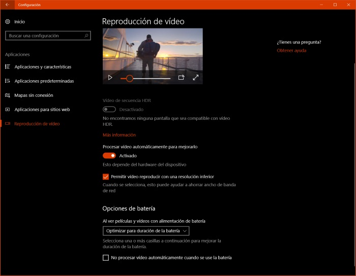 mejora video windows 10 fall creators update