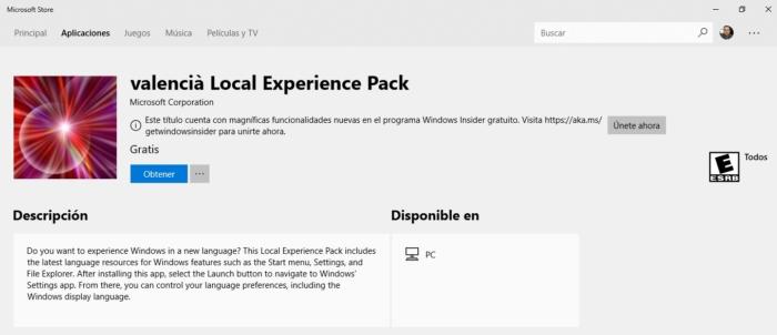 Idioma Microsoft Store