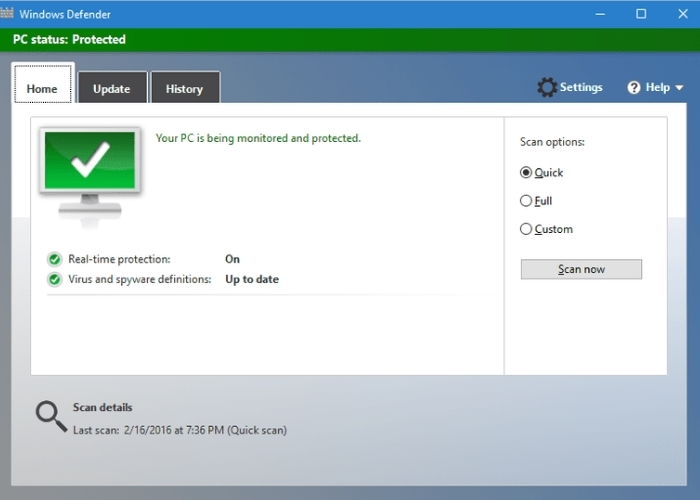 Windows Defender Escaneo