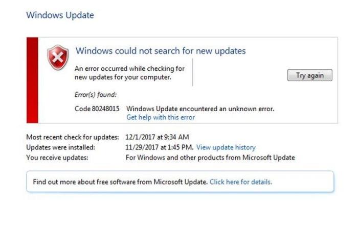 Error Update W7