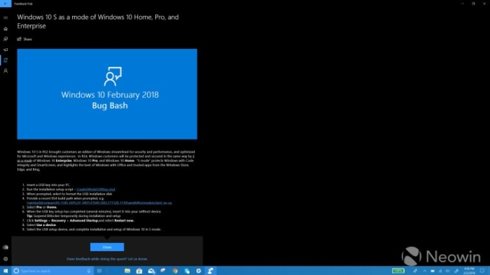 Bug Bash Windows 10 S Home
