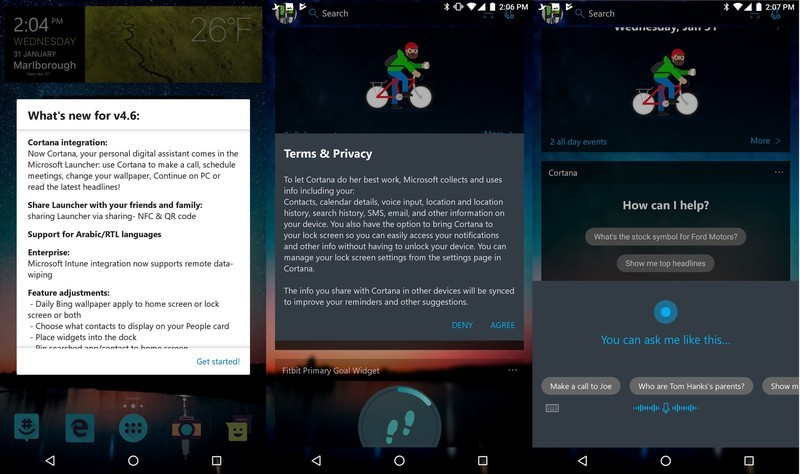 Cortana Interfaz Microsoft Launcher