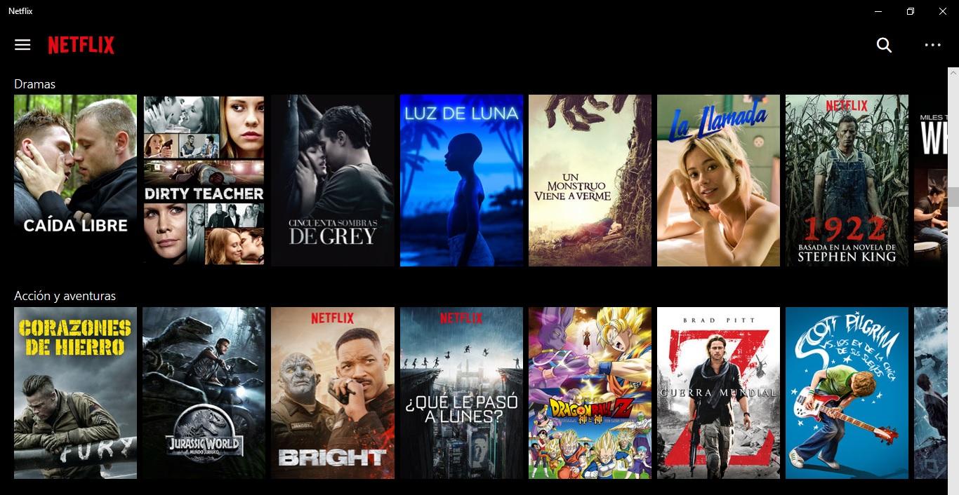 Interfaz Netflix
