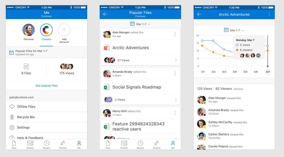 OneDrive Interfaz iOS