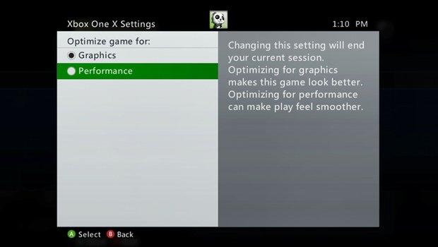 Opcion Graficos Rendimiento Xbox
