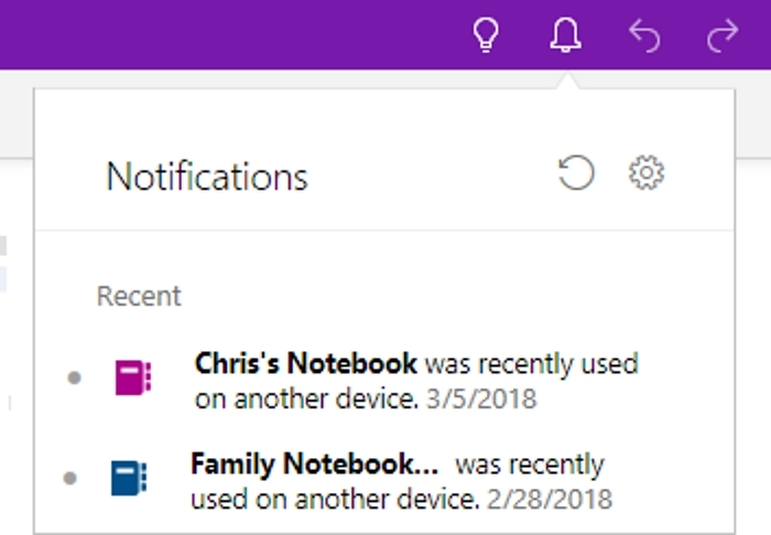 Notificaciones Uso OneNote