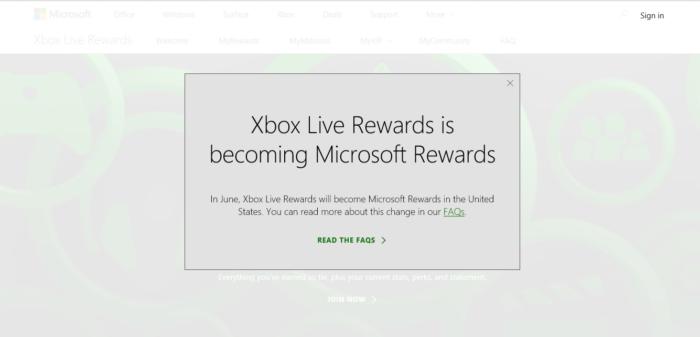 Xbox Live Rewards Microsoft Rewards