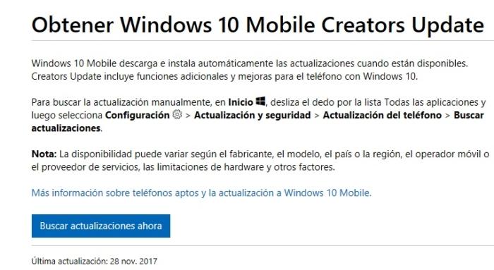 Actualizar W10 Mobile Creators Soporte
