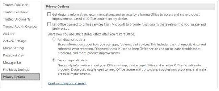 ¿Cómo saber si ya se activó la nueva recolección de datos de Microsoft Office?
