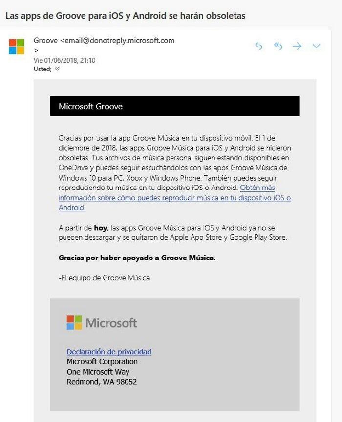 """Microsoft """"adelanta"""" por error la desaparición de Groove Music en Android e iOS"""