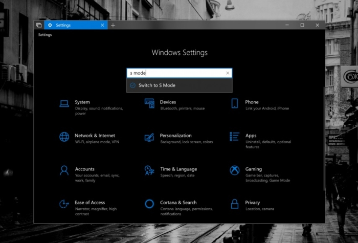 El Modo S se muestra en la build 17686 para Windows 10