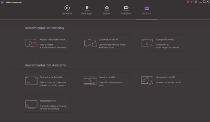 Wondershare Video Converter cuenta con todo tipo de herramientas