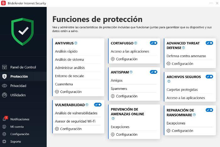 Funciones de protección de Bitdefender Internet Security 2020