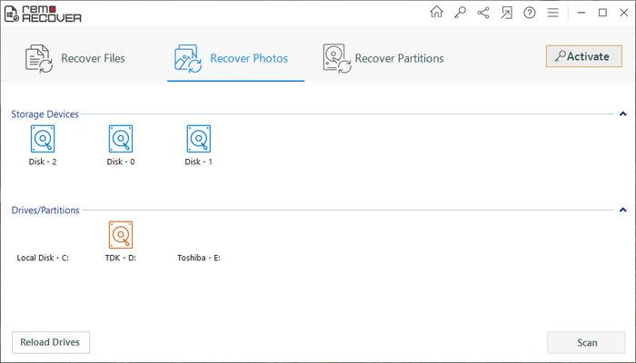Remo Data Recovery Software permite seleccionar las unidades