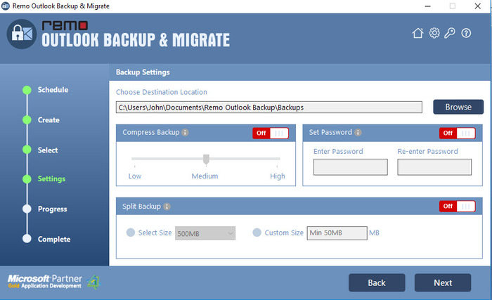 Remo Outlook Backup And Migrate - Menú de ajustes