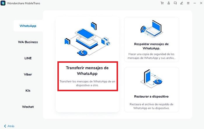 Wondershare MobileTrans - Transferir datos WhatsApp