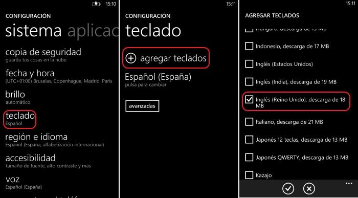 añadir idioma teclado windows phone 8