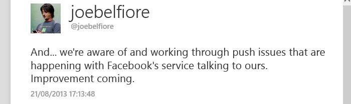 joe belfiore twitter facebook problema chat