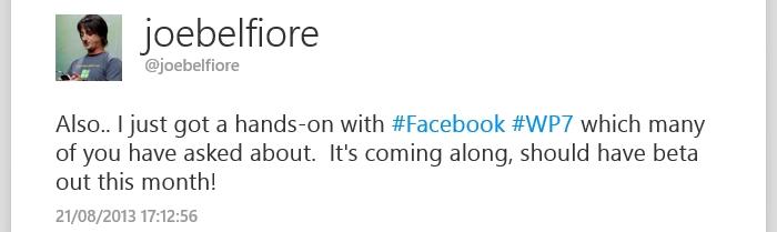 joe belfiore twitter facebook windows phone 7