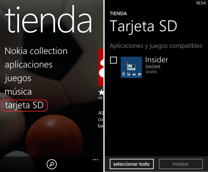 windows phone store instalar desde tarjeta sd