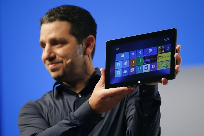 Panay, Microsoft Surface general manager, holds up the Microsoft Surface Pro 2 during the launch of their Surface 2 tablets in New York