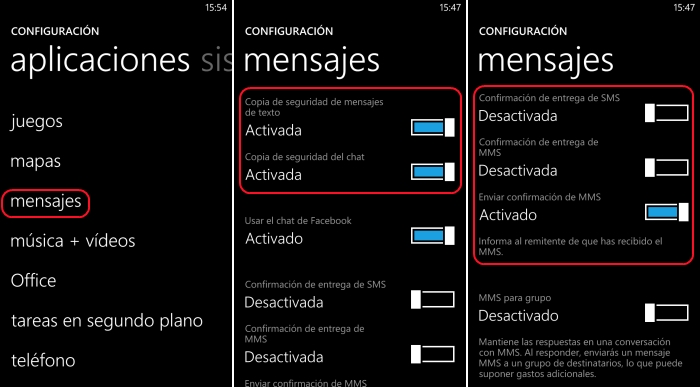 confirmación entrega sms windows phone