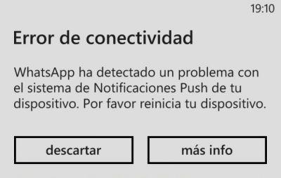 error conectividad whatsapp
