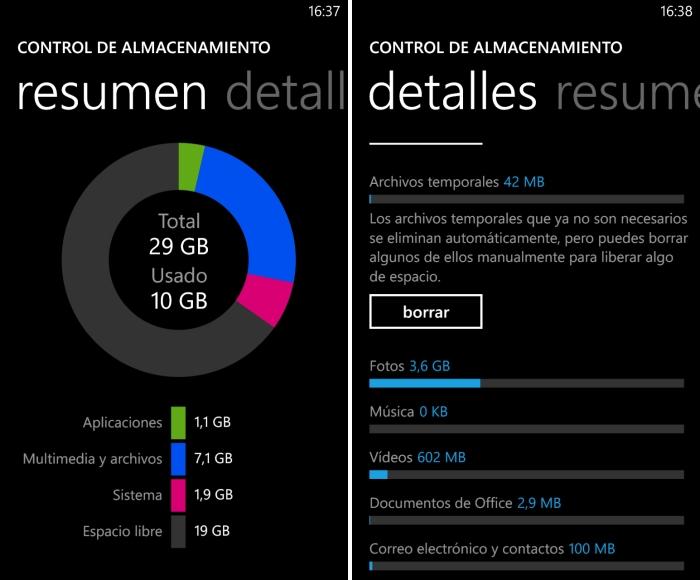 almacenamiento nokia lumia 1020